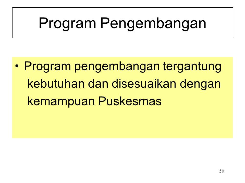 50 Program Pengembangan Program pengembangan tergantung kebutuhan dan disesuaikan dengan kemampuan Puskesmas