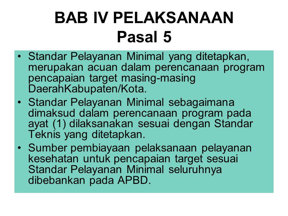 BAB IV PELAKSANAAN Pasal 5 Standar Pelayanan Minimal yang ditetapkan, merupakan acuan dalam perencanaan program pencapaian target masing-masing Daerah