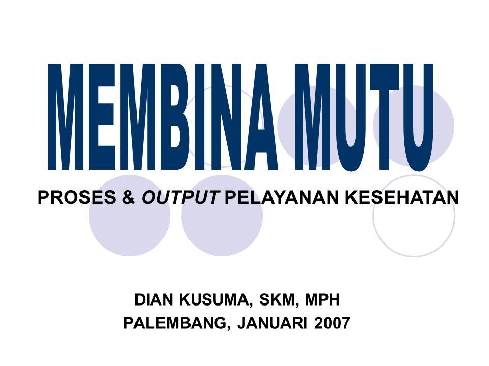DIAN KUSUMA, SKM, MPH PALEMBANG, JANUARI 2007 PROSES & OUTPUT PELAYANAN KESEHATAN