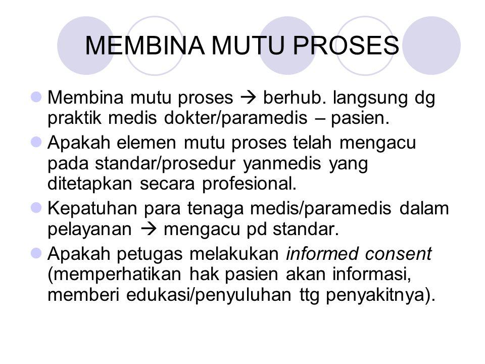 MEMBINA MUTU PROSES Membina mutu proses  berhub. langsung dg praktik medis dokter/paramedis – pasien. Apakah elemen mutu proses telah mengacu pada st