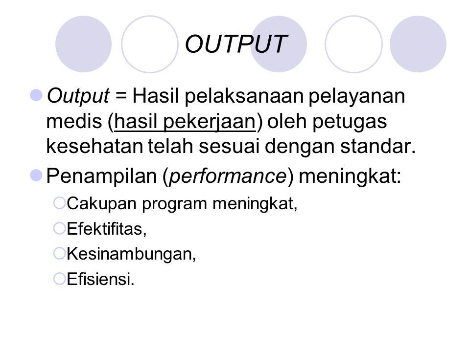 OUTPUT Output = Hasil pelaksanaan pelayanan medis (hasil pekerjaan) oleh petugas kesehatan telah sesuai dengan standar. Penampilan (performance) menin