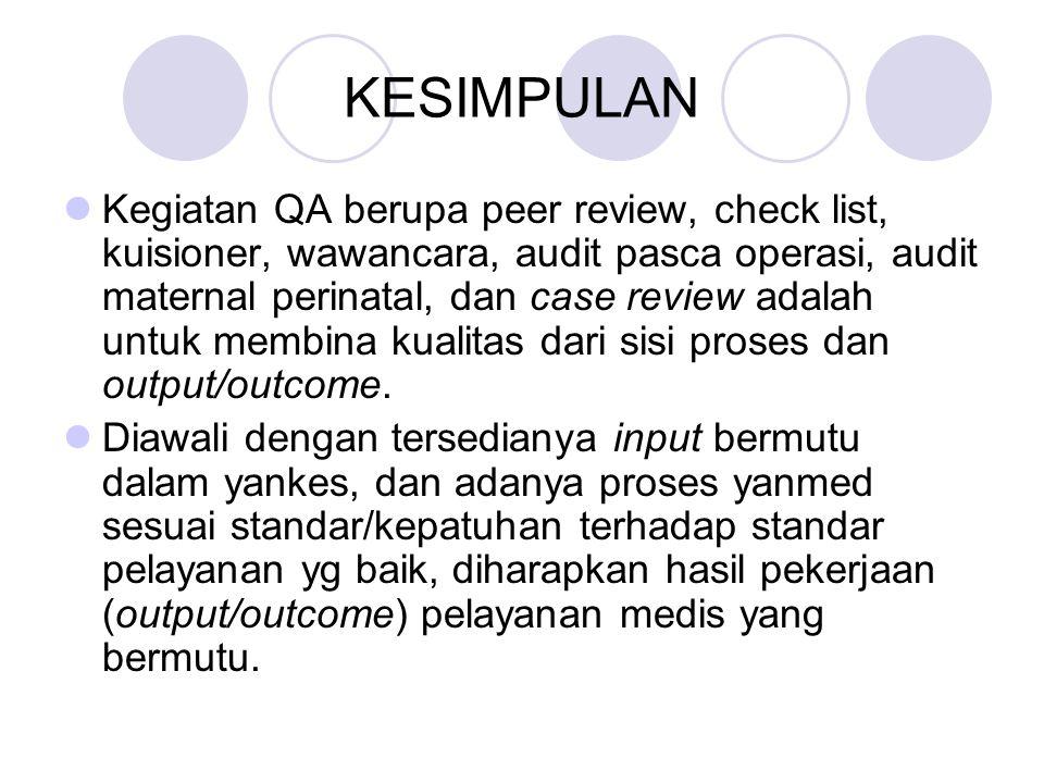 KESIMPULAN Kegiatan QA berupa peer review, check list, kuisioner, wawancara, audit pasca operasi, audit maternal perinatal, dan case review adalah unt