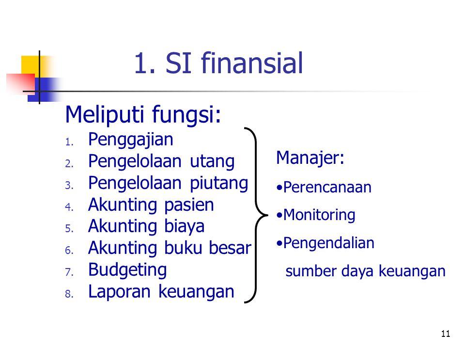 11 1.SI finansial Meliputi fungsi: 1. Penggajian 2.