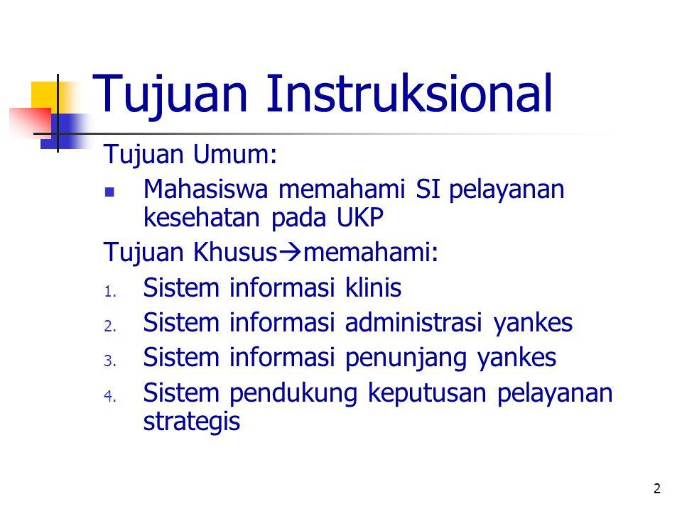 2 Tujuan Instruksional Tujuan Umum: Mahasiswa memahami SI pelayanan kesehatan pada UKP Tujuan Khusus  memahami: 1.
