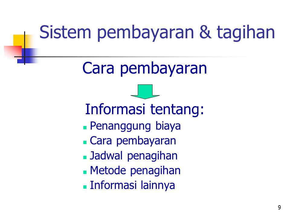 9 Sistem pembayaran & tagihan Cara pembayaran Informasi tentang: Penanggung biaya Cara pembayaran Jadwal penagihan Metode penagihan Informasi lainnya