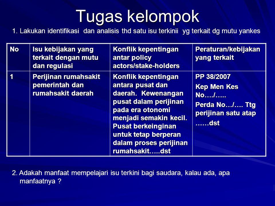 Tugas kelompok No Isu kebijakan yang terkait dengan mutu dan regulasi Konflik kepentingan antar policy actors/stake-holders Peraturan/kebijakan yang t