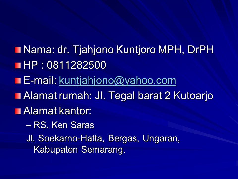 Nama: dr. Tjahjono Kuntjoro MPH, DrPH HP : 0811282500 E-mail: kuntjahjono@yahoo.com kuntjahjono@yahoo.com Alamat rumah: Jl. Tegal barat 2 Kutoarjo Ala
