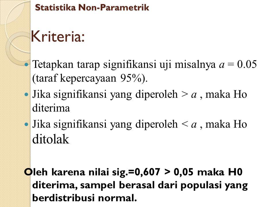 Kriteria: Tetapkan tarap signifikansi uji misalnya a = 0.05 (taraf kepercayaan 95%). Jika signifikansi yang diperoleh > a, maka Ho diterima Jika signi