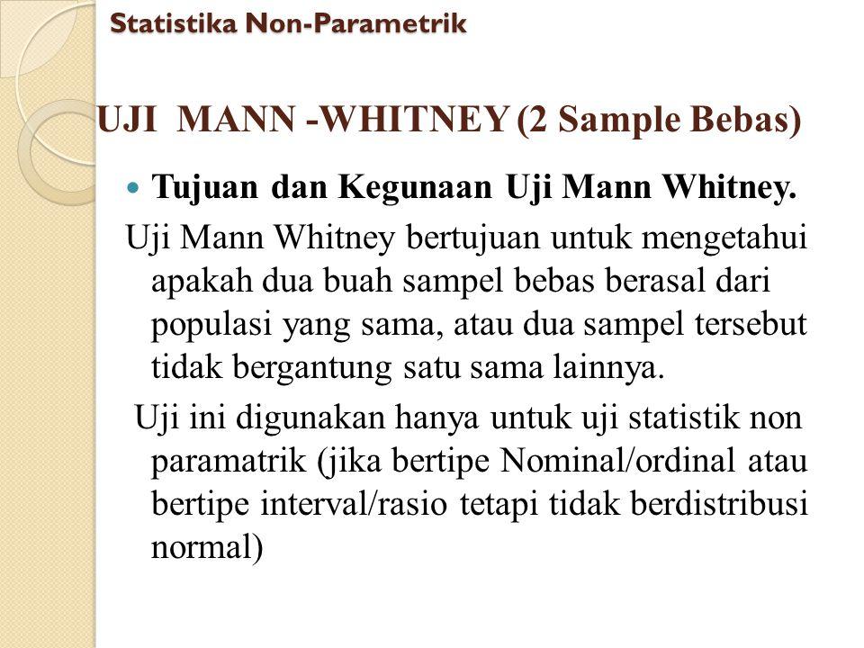 UJI MANN -WHITNEY (2 Sample Bebas) Tujuan dan Kegunaan Uji Mann Whitney. Uji Mann Whitney bertujuan untuk mengetahui apakah dua buah sampel bebas bera
