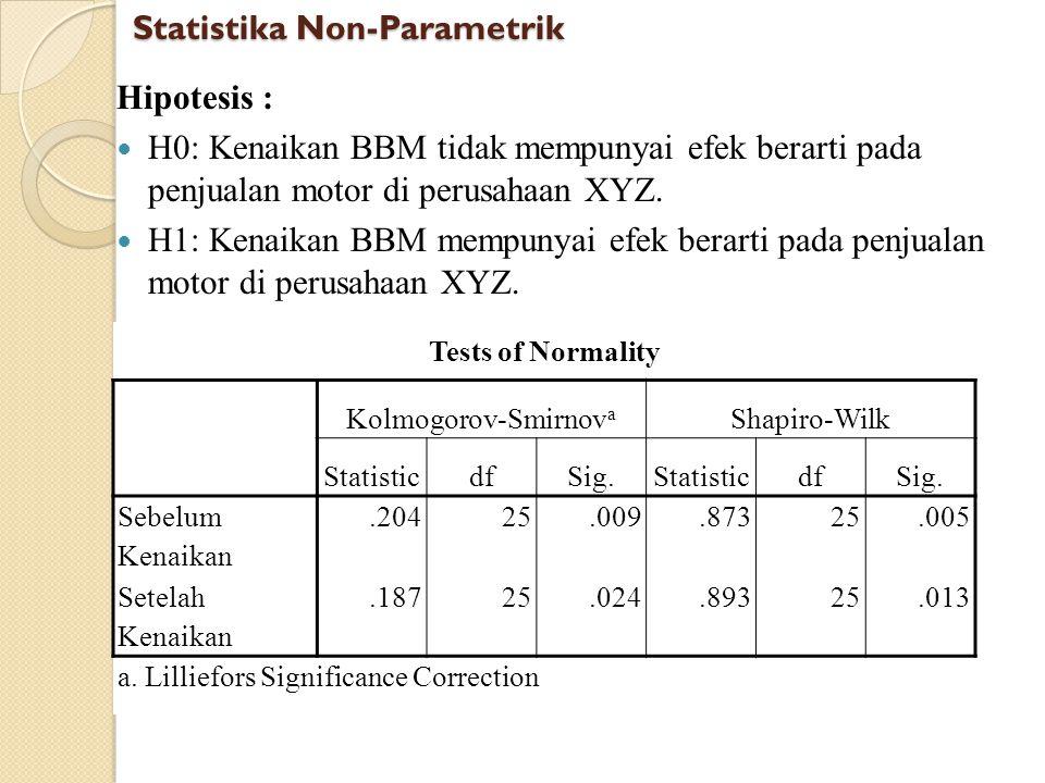 Hipotesis : H0: Kenaikan BBM tidak mempunyai efek berarti pada penjualan motor di perusahaan XYZ. H1: Kenaikan BBM mempunyai efek berarti pada penjual