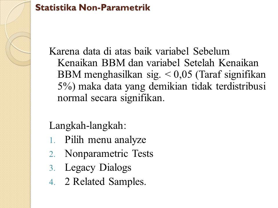 Karena data di atas baik variabel Sebelum Kenaikan BBM dan variabel Setelah Kenaikan BBM menghasilkan sig. < 0,05 (Taraf signifikan 5%) maka data yang