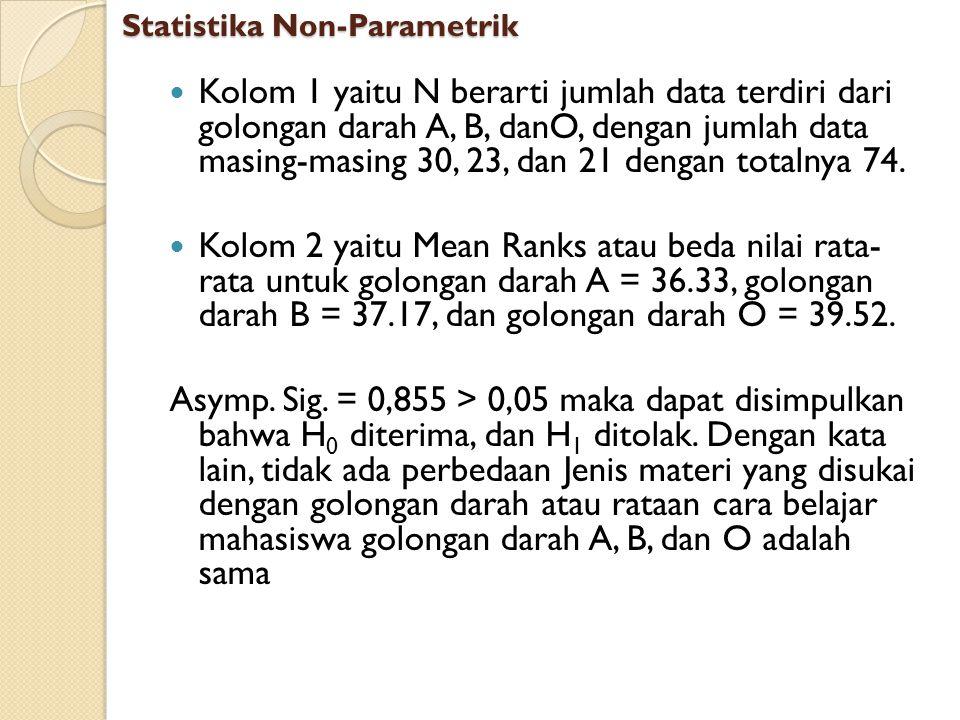 Kolom 1 yaitu N berarti jumlah data terdiri dari golongan darah A, B, danO, dengan jumlah data masing-masing 30, 23, dan 21 dengan totalnya 74. Kolom
