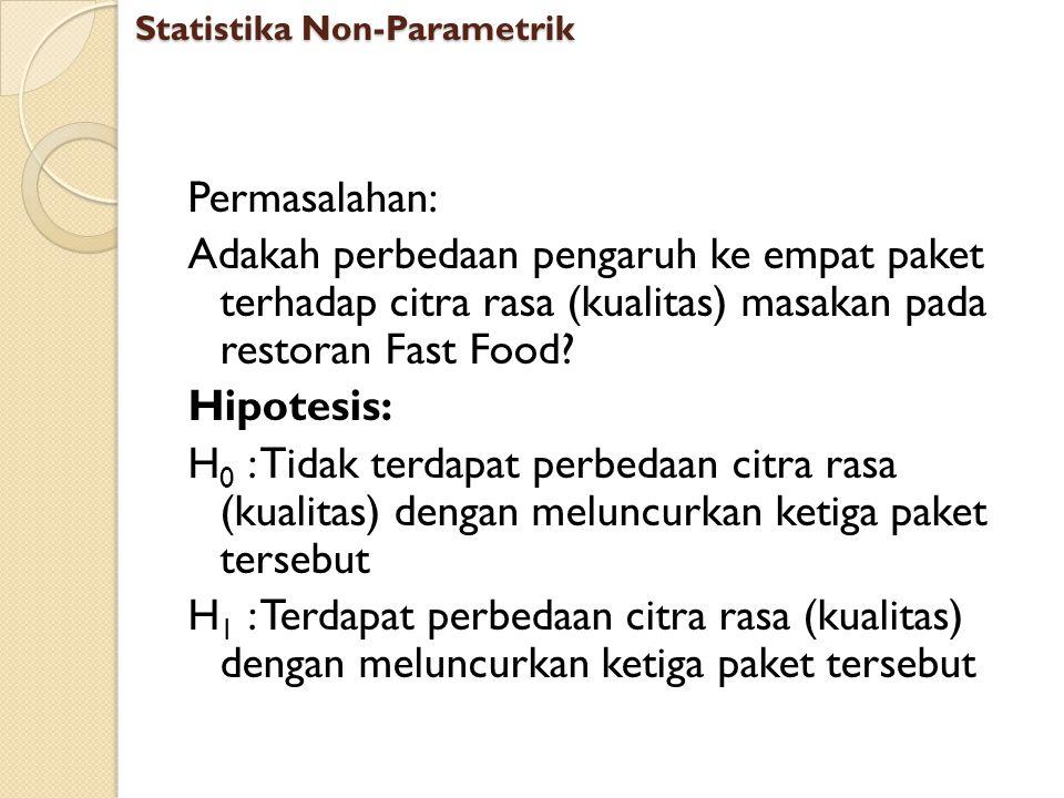 Permasalahan: Adakah perbedaan pengaruh ke empat paket terhadap citra rasa (kualitas) masakan pada restoran Fast Food? Hipotesis: H 0 : Tidak terdapat