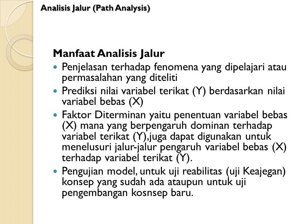 Manfaat Analisis Jalur Penjelasan terhadap fenomena yang dipelajari atau permasalahan yang diteliti Prediksi nilai variabel terikat (Y) berdasarkan ni