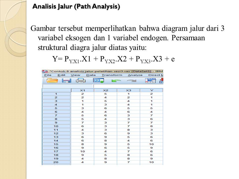 Gambar tersebut memperlihatkan bahwa diagram jalur dari 3 variabel eksogen dan 1 variabel endogen. Persamaan struktural diagra jalur diatas yaitu: Y=
