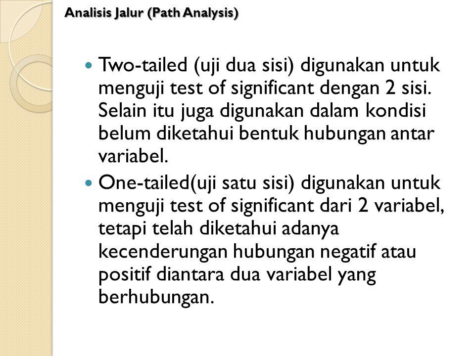 Two-tailed (uji dua sisi) digunakan untuk menguji test of significant dengan 2 sisi. Selain itu juga digunakan dalam kondisi belum diketahui bentuk hu