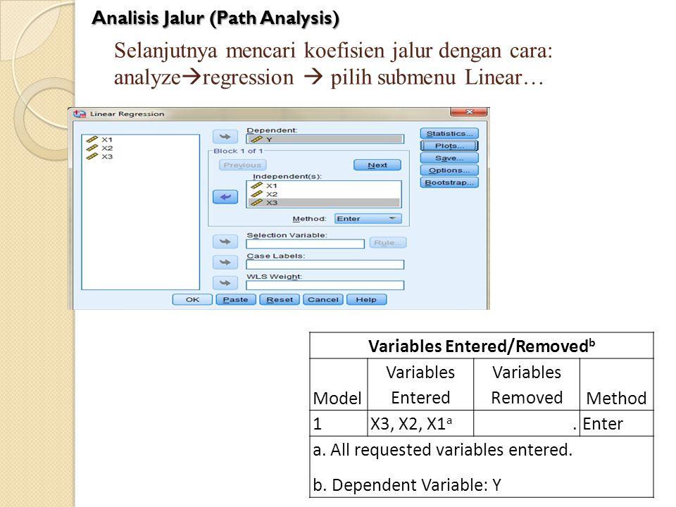 Selanjutnya mencari koefisien jalur dengan cara: analyze  regression  pilih submenu Linear… Variables Entered/Removed b Model Variables Entered Vari