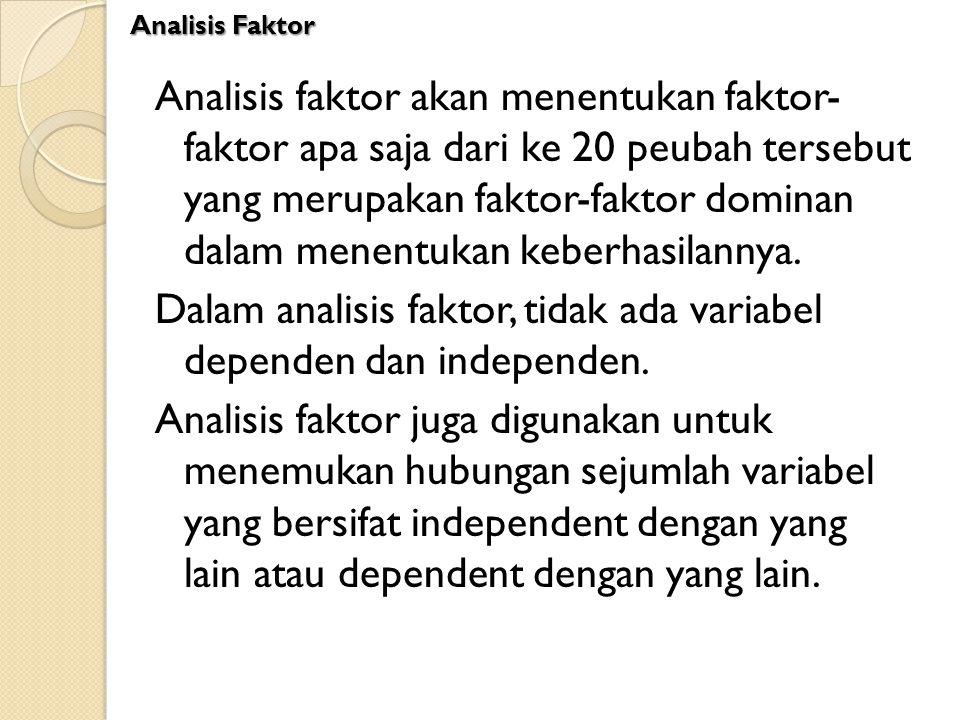 Analisis faktor akan menentukan faktor- faktor apa saja dari ke 20 peubah tersebut yang merupakan faktor-faktor dominan dalam menentukan keberhasilann