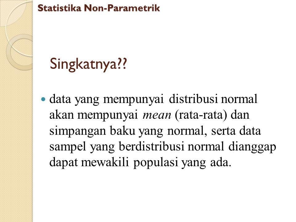 Uji Normalitas dengan Kolmogorov Smirnov (K-S) atau Shapiro Wilk Langkah-langkah Uji Normalitas: Ambil data contoh 1.sav Pilih menu Analyze Pilih submenu Explore Tekan tombol Plots Centang Normality plots with tests Statistika Non-Parametrik