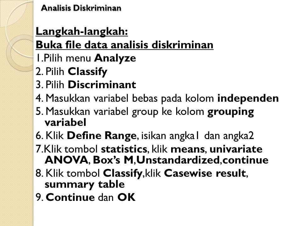 Langkah-langkah: Buka file data analisis diskriminan 1.Pilih menu Analyze 2. Pilih Classify 3. Pilih Discriminant 4. Masukkan variabel bebas pada kolo