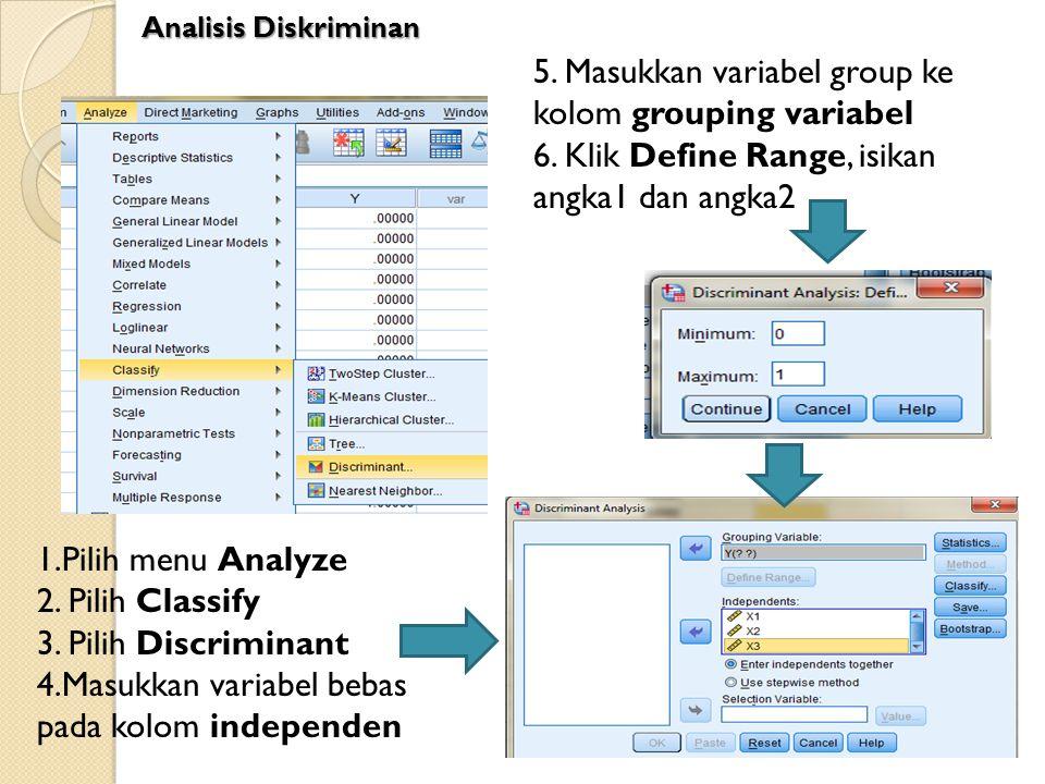 1.Pilih menu Analyze 2. Pilih Classify 3. Pilih Discriminant 4.Masukkan variabel bebas pada kolom independen 5. Masukkan variabel group ke kolom group