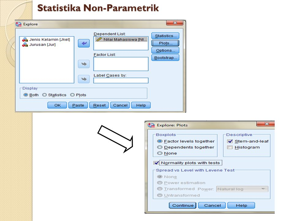 Hipotesis: H 0 : data berdistribusi normal H 1 : data tidak berdistribusi normal Statistika Non-Parametrik Tests of Normality Kolmogorov-Smirnov a Shapiro-Wilk StatisticdfSig.StatisticdfSig.
