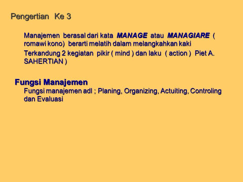 IV TINGKATAN MANAJEMEN Manager berdasarkan herarki tugasnya dikelompokan sbb : 1.Manager tingkat pertama ( Lower Manager ) adalah manager yang langsung berhubungan dengan pekerjaan ( worker ) yang langsung menjalankan mesin ataupun memberikan pelayanan llangsung kepada konsumen.