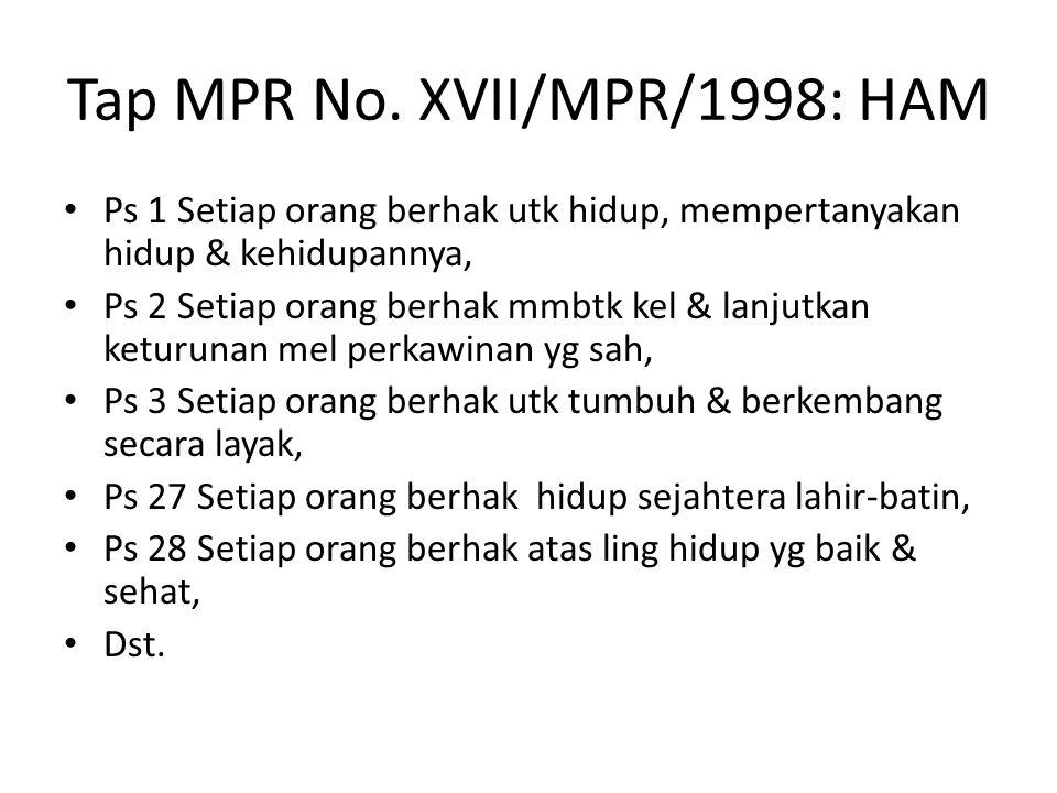 Tap MPR No. XVII/MPR/1998: HAM Ps 1 Setiap orang berhak utk hidup, mempertanyakan hidup & kehidupannya, Ps 2 Setiap orang berhak mmbtk kel & lanjutkan