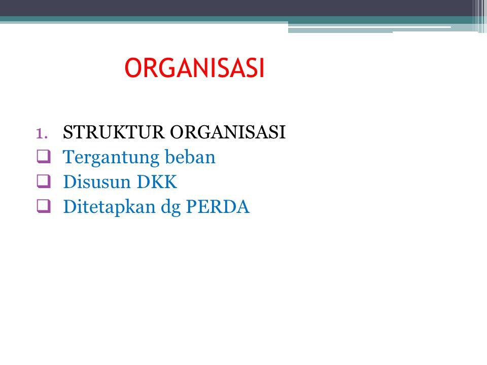 ORGANISASI 1.STRUKTUR ORGANISASI  Tergantung beban  Disusun DKK  Ditetapkan dg PERDA