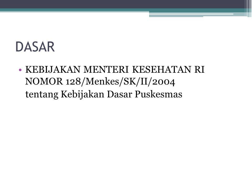 DASAR KEBIJAKAN MENTERI KESEHATAN RI NOMOR 128/Menkes/SK/II/2004 tentang Kebijakan Dasar Puskesmas