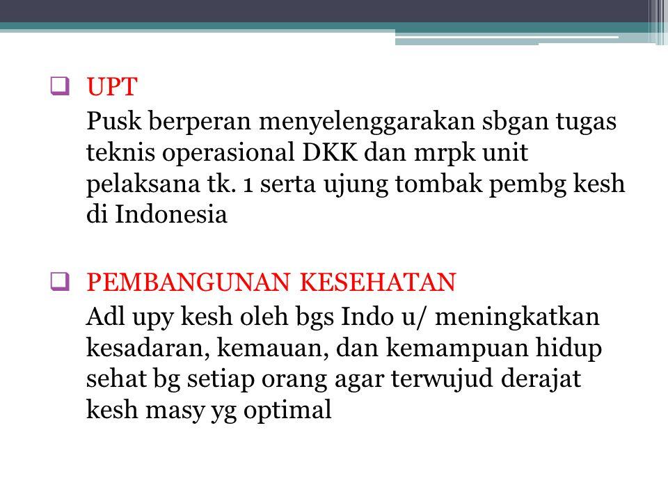  UPT Pusk berperan menyelenggarakan sbgan tugas teknis operasional DKK dan mrpk unit pelaksana tk. 1 serta ujung tombak pembg kesh di Indonesia  PEM