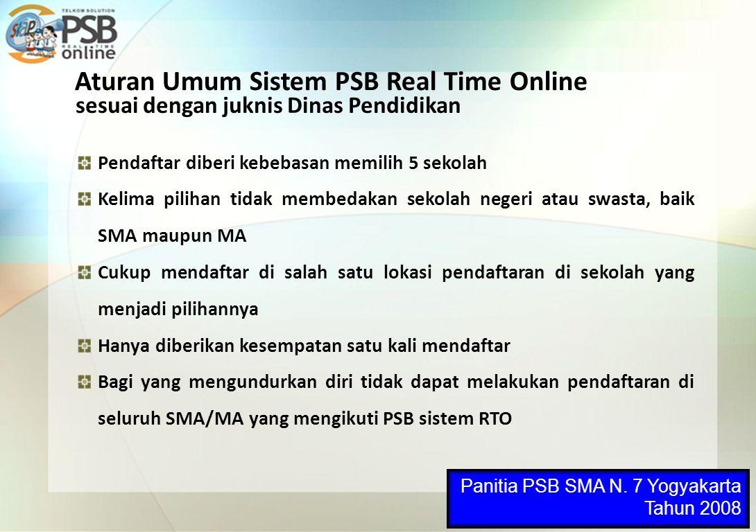 Aturan Umum Sistem PSB Real Time Online Pendaftar diberi kebebasan memilih 5 sekolah Kelima pilihan tidak membedakan sekolah negeri atau swasta, baik