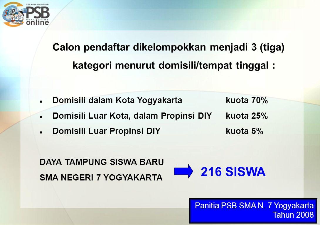 Calon pendaftar dikelompokkan menjadi 3 (tiga) kategori menurut domisili/tempat tinggal : Domisili dalam Kota Yogyakarta kuota 70% Domisili Luar Kota,