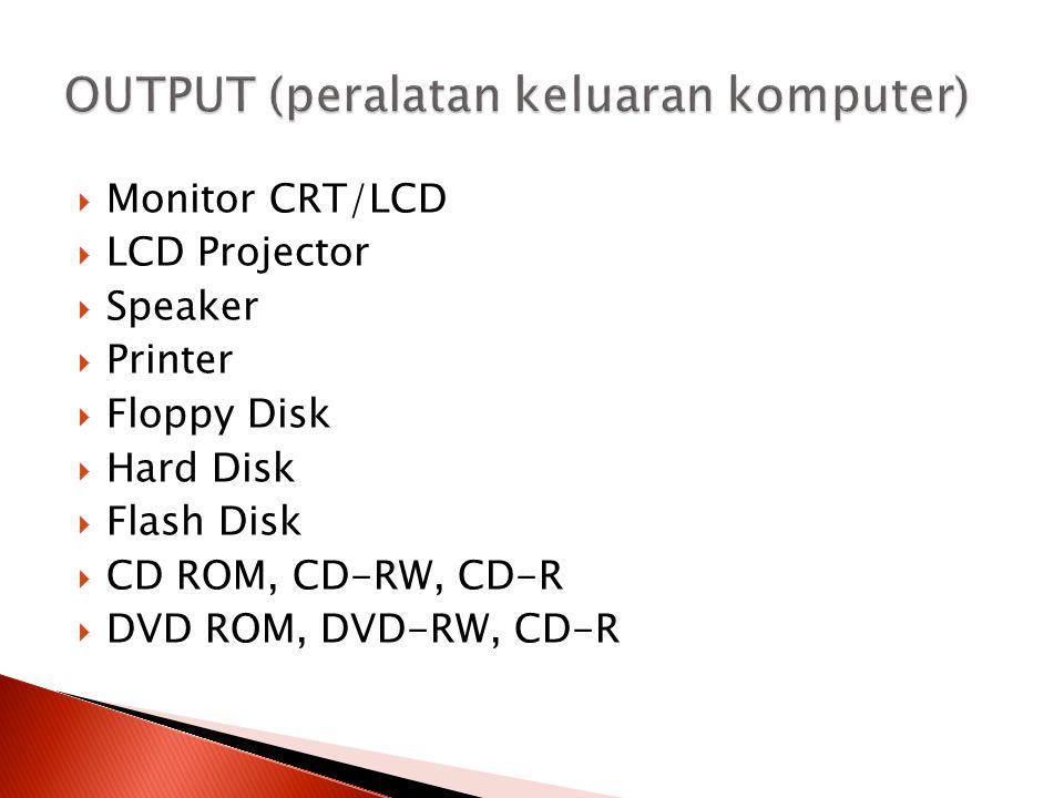  Monitor CRT/LCD  LCD Projector  Speaker  Printer  Floppy Disk  Hard Disk  Flash Disk  CD ROM, CD-RW, CD-R  DVD ROM, DVD-RW, CD-R