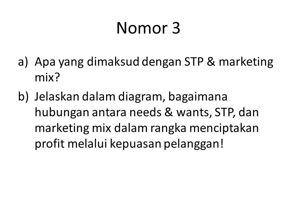 Nomor 3 a)Apa yang dimaksud dengan STP & marketing mix? b)Jelaskan dalam diagram, bagaimana hubungan antara needs & wants, STP, dan marketing mix dala