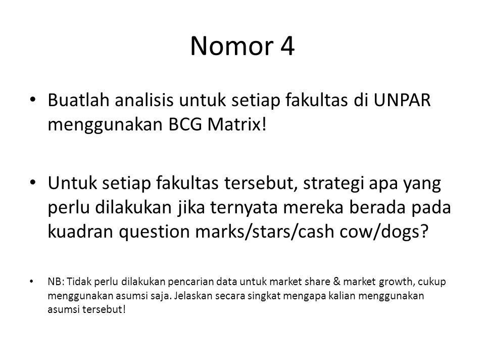 Nomor 4 Buatlah analisis untuk setiap fakultas di UNPAR menggunakan BCG Matrix! Untuk setiap fakultas tersebut, strategi apa yang perlu dilakukan jika
