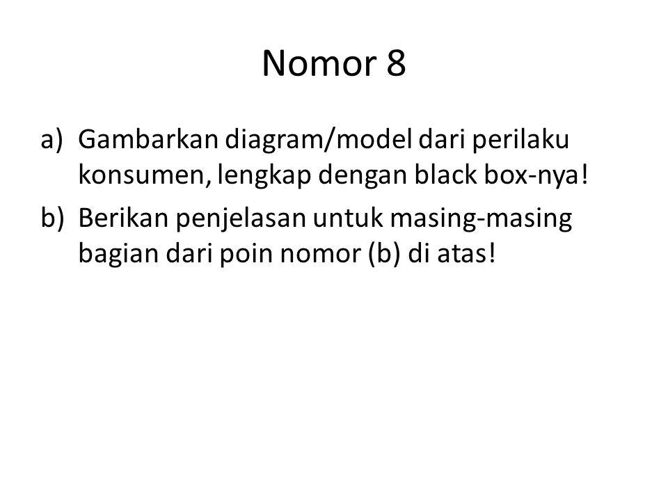 Nomor 8 a)Gambarkan diagram/model dari perilaku konsumen, lengkap dengan black box-nya! b)Berikan penjelasan untuk masing-masing bagian dari poin nomo