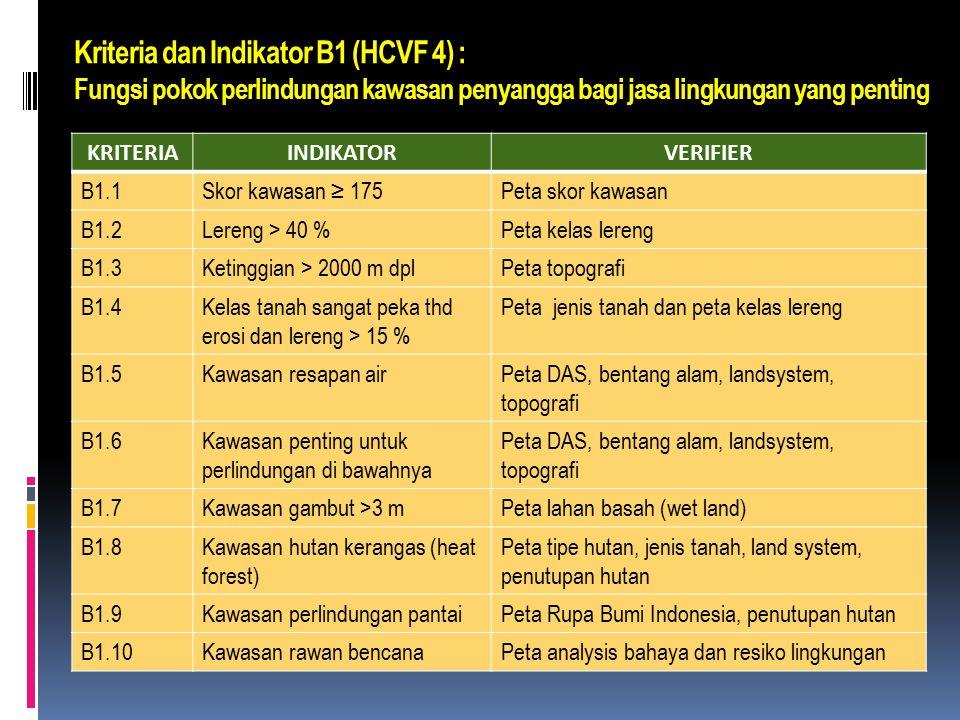 6 Atribut HCVF  HCVF 4 : kawasan hutan yang berfungsi sebagai pengatur alam dalam situasi yang kritis (e.g. perlindungan daerah aliran sungai, pengen