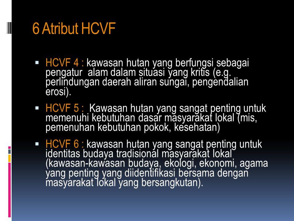 6 Atribut HCVF  HCVF 1 : kawasan hutan yang mempunyai konsentrasi nilai-nilai keanekaragaman hayati yang penting secara global, regional dan lokal (m