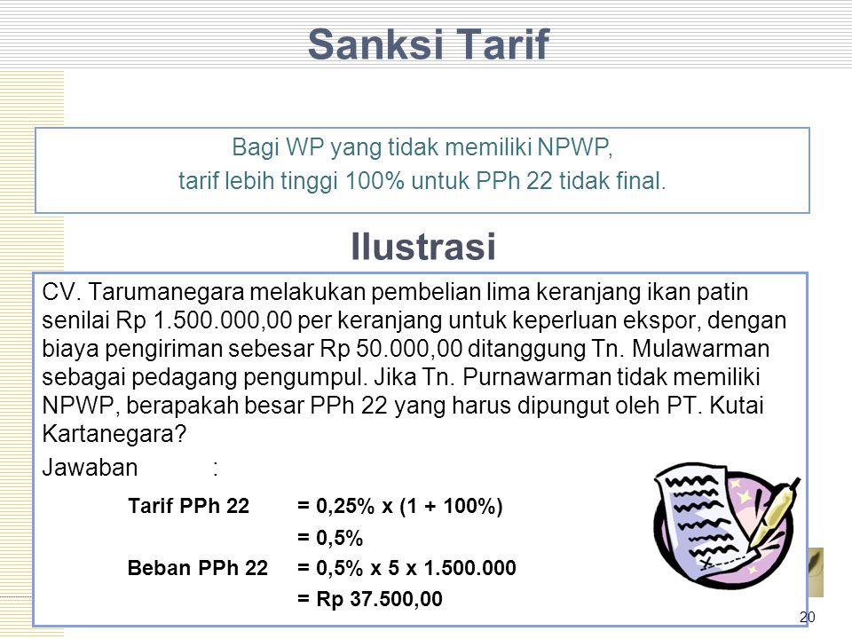 Sanksi Tarif CV. Tarumanegara melakukan pembelian lima keranjang ikan patin senilai Rp 1.500.000,00 per keranjang untuk keperluan ekspor, dengan biaya