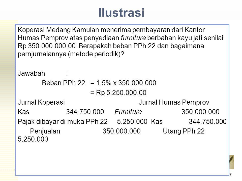 Ilustrasi Koperasi Medang Kamulan menerima pembayaran dari Kantor Humas Pemprov atas penyediaan furniture berbahan kayu jati senilai Rp 350.000.000,00