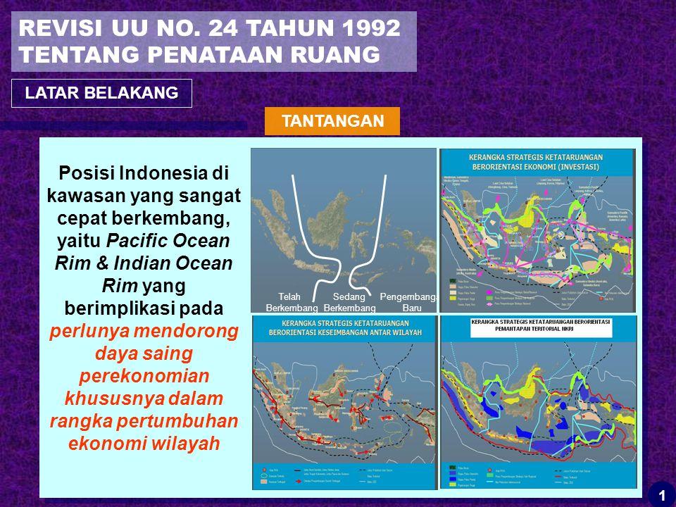 Posisi Indonesia di kawasan yang sangat cepat berkembang, yaitu Pacific Ocean Rim & Indian Ocean Rim yang berimplikasi pada perlunya mendorong daya saing perekonomian khususnya dalam rangka pertumbuhan ekonomi wilayah Telah Berkembang Sedang Berkembang Pengembangan Baru REVISI UU NO.