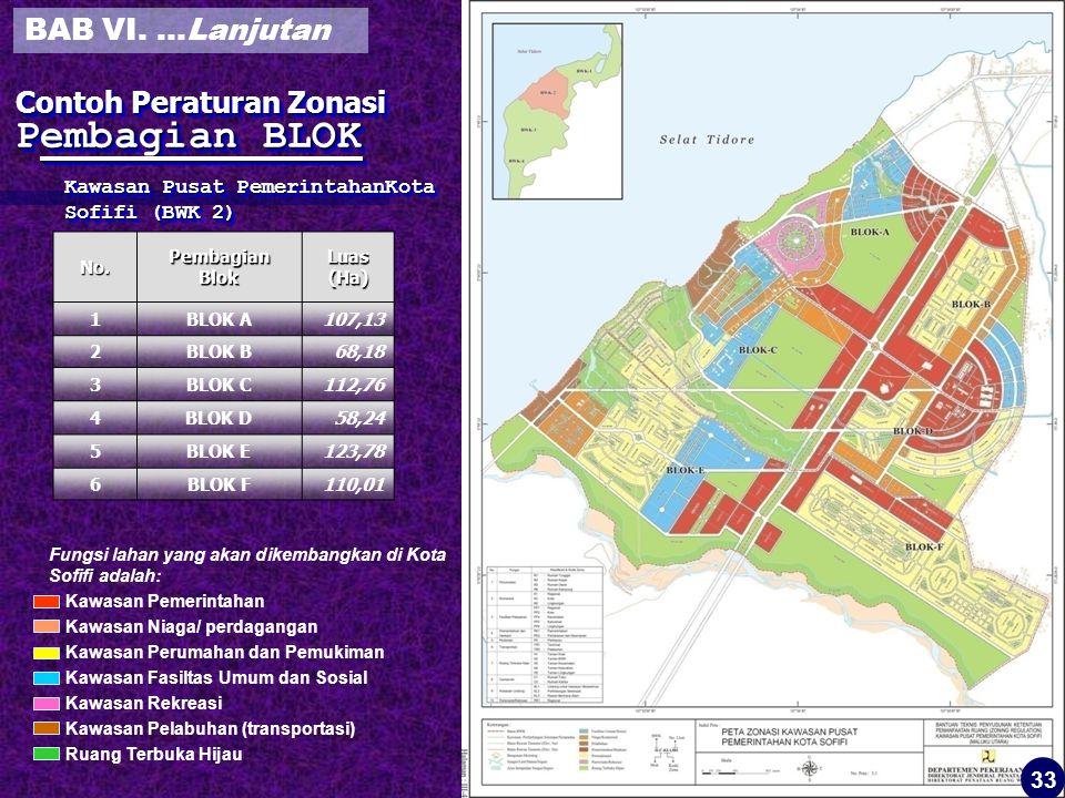 Contoh Peraturan Zonasi Pembagian BLOK Kawasan Pusat PemerintahanKota Sofifi (BWK 2) No.