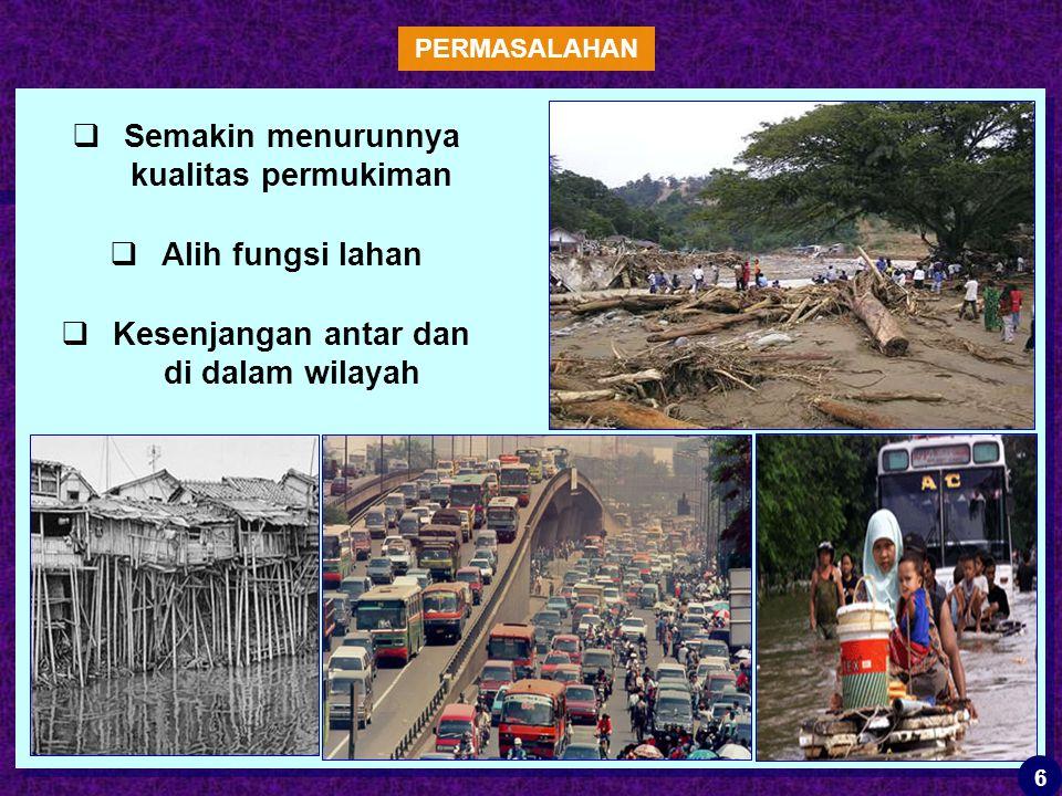  Semakin menurunnya kualitas permukiman  Alih fungsi lahan  Kesenjangan antar dan di dalam wilayah PERMASALAHAN 6