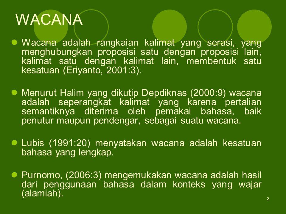 2 WACANA Wacana adalah rangkaian kalimat yang serasi, yang menghubungkan proposisi satu dengan proposisi lain, kalimat satu dengan kalimat lain, membe
