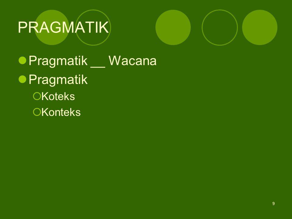 9 PRAGMATIK Pragmatik __ Wacana Pragmatik  Koteks  Konteks
