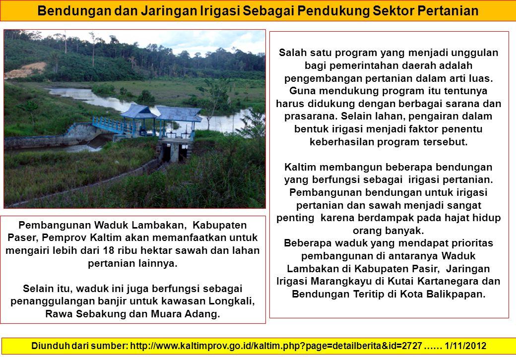 Bendungan dan Jaringan Irigasi Sebagai Pendukung Sektor Pertanian Diunduh dari sumber: http://www.kaltimprov.go.id/kaltim.php?page=detailberita&id=272