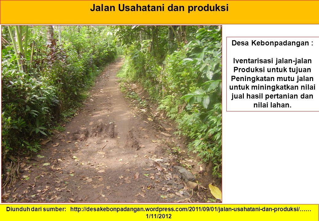 Jalan Usahatani dan produksi Diunduh dari sumber: http://desakebonpadangan.wordpress.com/2011/09/01/jalan-usahatani-dan-produksi/…… 1/11/2012 Desa Keb