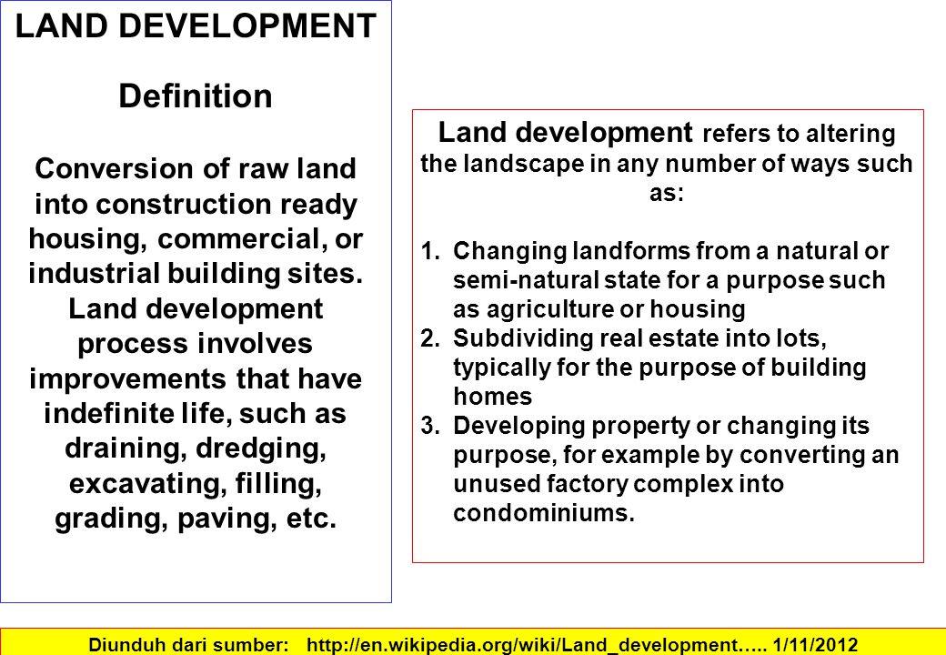 Proses pembangunan properti dapat dibagi menjadi tahap utama berikut: 1.Inisiasi 2.Evaluasi 3.Perolehan 4.Desain dan biaya 5.Izin 6.Komitmen 7.Implementasi 8.Silahkan / mengelola / membuang SUMBER:: moodle.unitec.ac.nz/...php/.../Property%20development%20process.pdf.PROPERTY DEVELOPMENT.