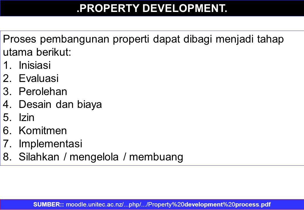 Proses pembangunan properti dapat dibagi menjadi tahap utama berikut: 1.Inisiasi 2.Evaluasi 3.Perolehan 4.Desain dan biaya 5.Izin 6.Komitmen 7.Impleme